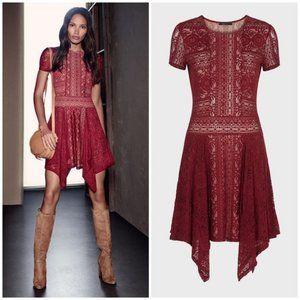 BCBGMaxazria Aileen Red Lace Dress Size Medium